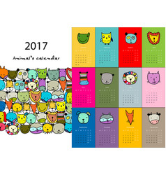 funny animals calendar 2017 design vector image