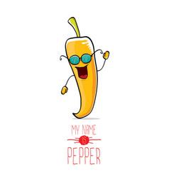 Funny cartoon orange pepper character vector