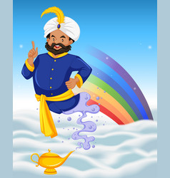 Genie and the lamp on the clouds vector