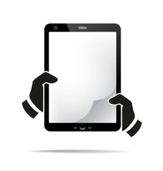 Hands holding a tablet with isolated screen vector image
