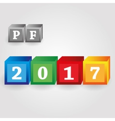 Happy new year 2017 from red green blue and yellow vector