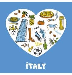 Italy colored doodles collection vector