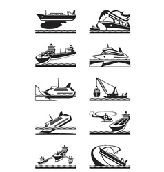 Maritime accidents with merchant and cruise ships vector image