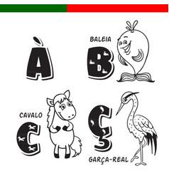 Portuguese alphabet horse heron whale the vector