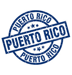 Puerto rico blue round grunge stamp vector