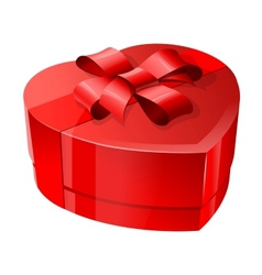 Red heart-shaped package with a shiny ribbon vector image vector image