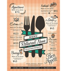 Restaurant Menu Design Template Layout vector image