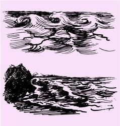 Sea ocean wave vector