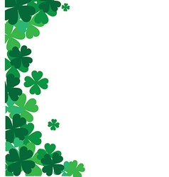 St Patricks corner border with shamrock vector image