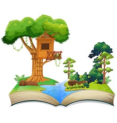 Treehouse by the river on a book vector