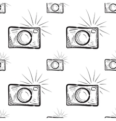 vintage photo cameras seamless pattern vector image