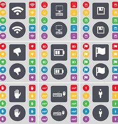 Wi-Fi PC Floppy Dislike Battery Flag Hand Keyboard vector image