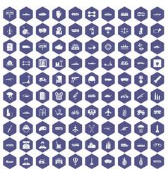 100 burden icons hexagon purple vector
