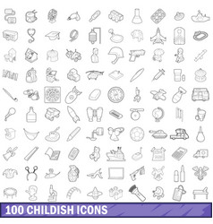 100 childish icons set outline style vector