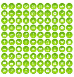 100 yoga icons set green circle vector