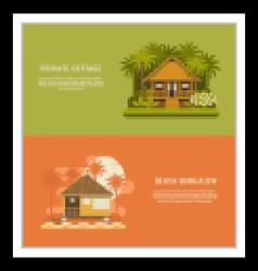 Tropic bungalow banners vector