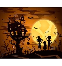 Halloween party background with castle silhouette vector