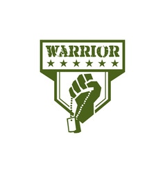 Soldier hand clutching dogtag warrior crest retro vector