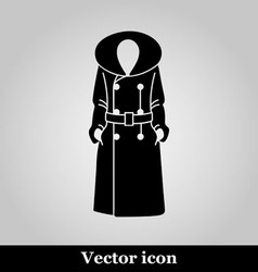 Women coat icon on grey background vector