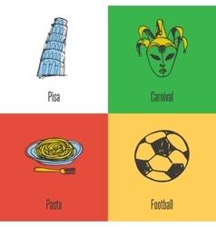 Italian national symbols icons set vector