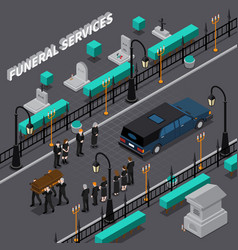 Funeral services isometric composition vector