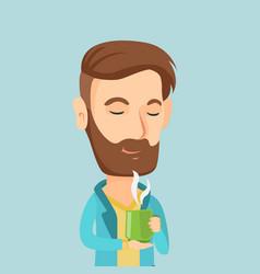 man enjoying cup of coffee vector image