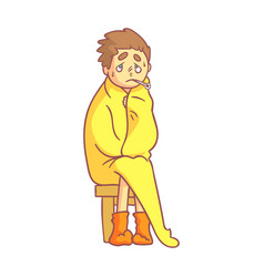 Boy caught flu having high temperature sitting vector