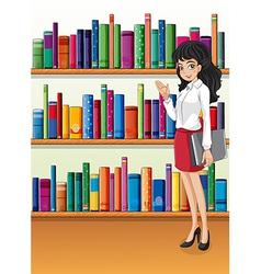 A librarian near the bookshelves vector image
