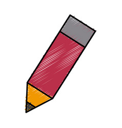 Wooden sharp pencil rubber eraser isolated on vector
