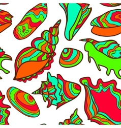 Colorful vibrant seamless seashell pattern vector