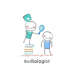 otolaryngologist stands on a pile of books and vector image