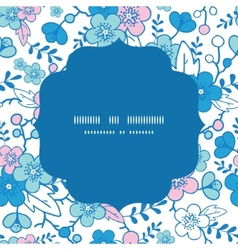 Blue and pink kimono blossoms circle frame vector