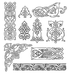 Antique old russian ornaments set vector
