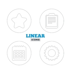 Calendar and star signs checklist gear vector