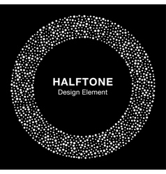 White abstract halftone circle on black background vector