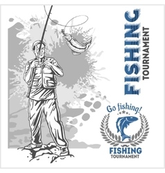 Fishing - fisherman with a fishing rod on grunge vector image