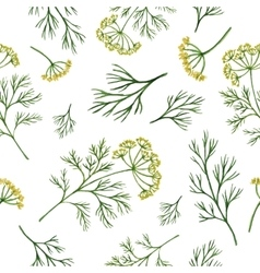 Watercolor seamless pattern hand drawn herb dill vector