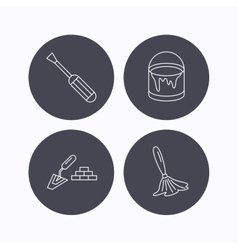 Spatula screwdriver and paint brush icons vector