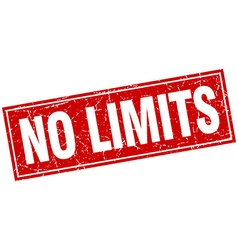 No limits red square grunge stamp on white vector