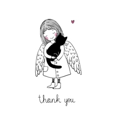 Angel and black cat on a white background vector image