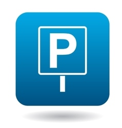 Parking sign icon simple style vector