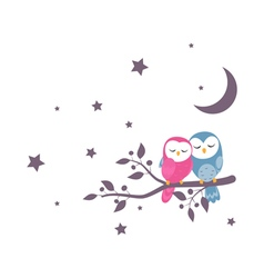 Couples of owls family sitting on night scene vector