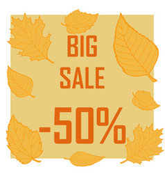 a discount of fifty percent surrounded by autumn vector image vector image
