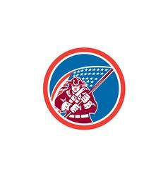 American patriot holding flag circle vector