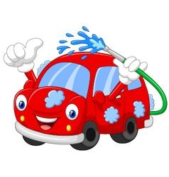 Cartoon car giving thumb up vector