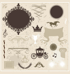 collection of design elements on vintage vector image