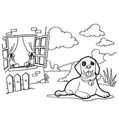 Coloring book with dog and window vector
