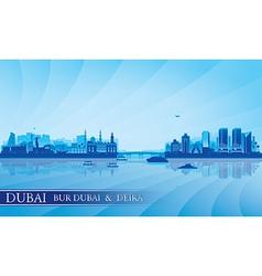 Dubai Deira and Bur Dubai skyline silhouette vector image vector image