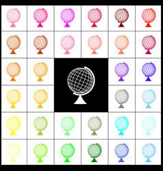 Earth globe sign felt-pen 33 colorful vector