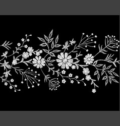 embroidery white lace border floral border small vector image vector image